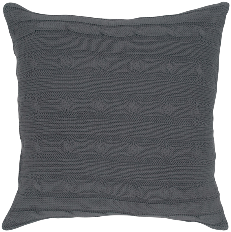 District17: Gray Cable Knit Throw Pillow: Pillows