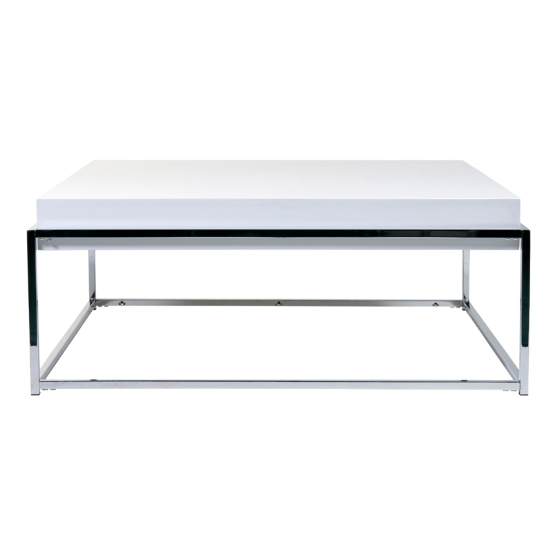 District17 Greta Coffee Table In White Lacquer And Chrome Tables