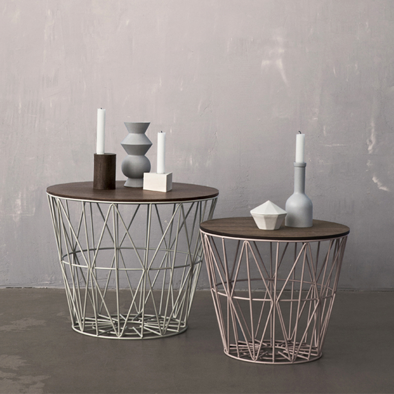 District17 grey large wire basket storage shelves - Decoratie tafel basse ...