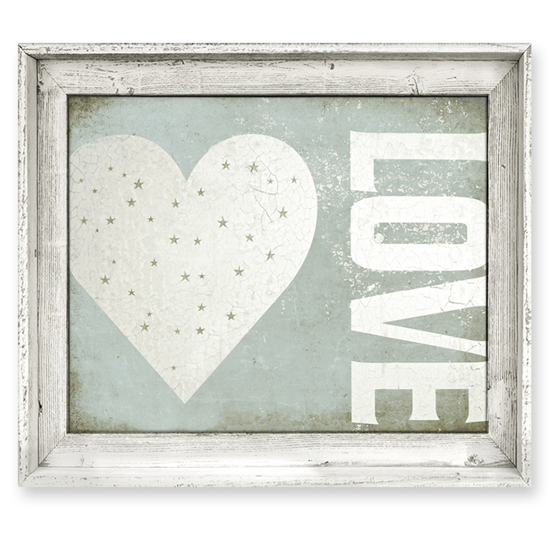 Framed Love Wall Decor : District grungy love framed canvas wall art