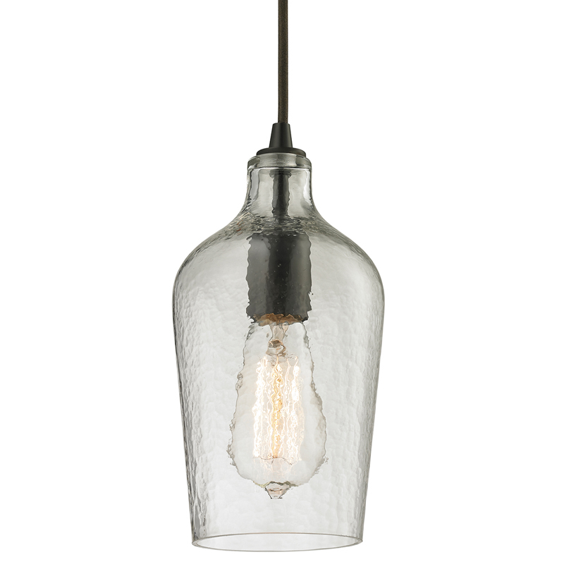 District17: Hammered Clear Glass Mini Pendant In Oil Rubbed Bronze ...