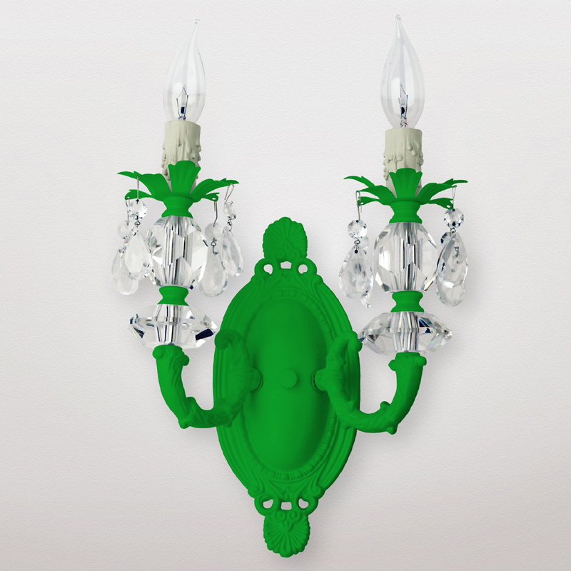 District17: Jupiter Neon Green Clear Crystal Double Wall Sconce: Wall Sconces