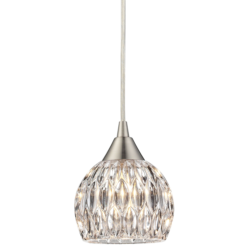 District17 Kersey Feather Glass Mini Pendant In Satin Nickel Pendant Lights