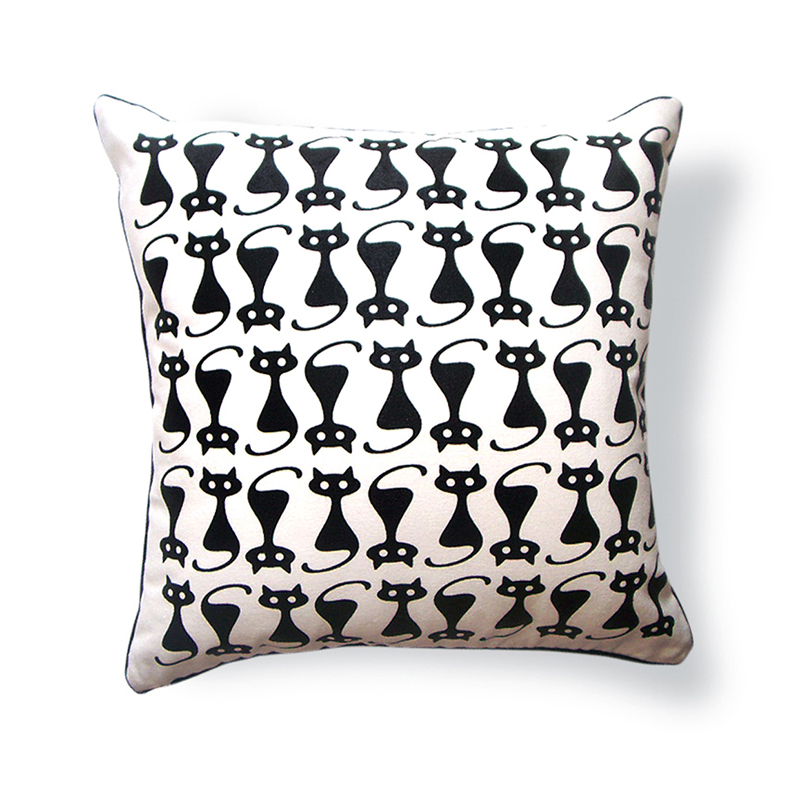 Kitty Throw Pillow : District17: Kitty Cat with Button Eyes Reversible Throw Pillow: Pillows