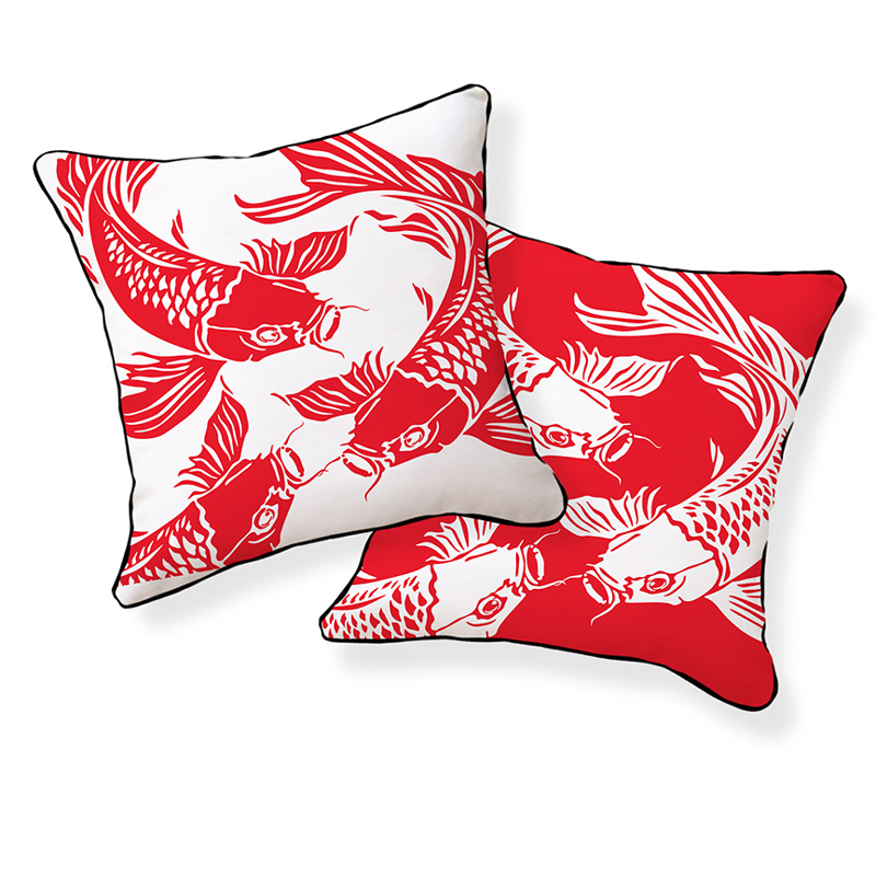District17: Koi Fish Throw Pillow: Pillows