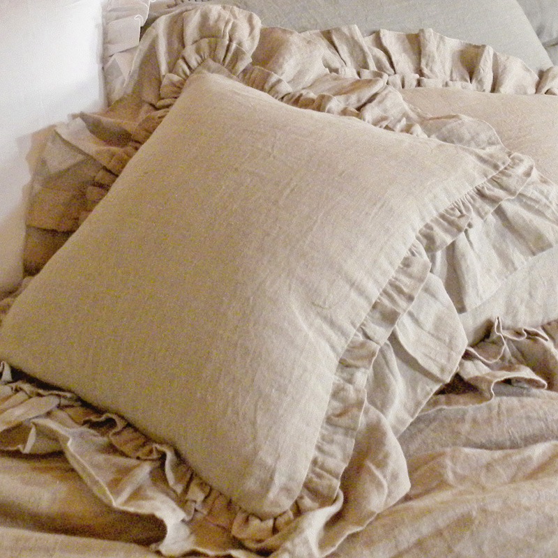 How To Make A Throw Pillow With Ruffle : District17: Linen Double Ruffle Throw Pillow: Pillows