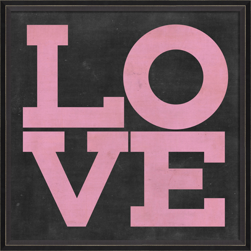 Framed Love Wall Decor : District love poster in pink framed wall art