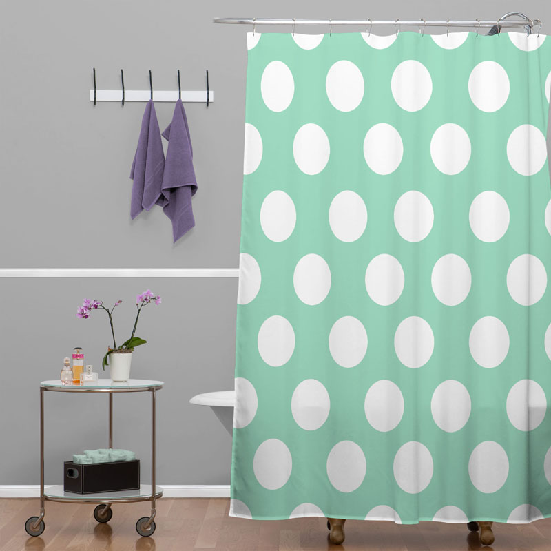 District17 Mintiest Polka Dots Shower Curtain Shower Curtains
