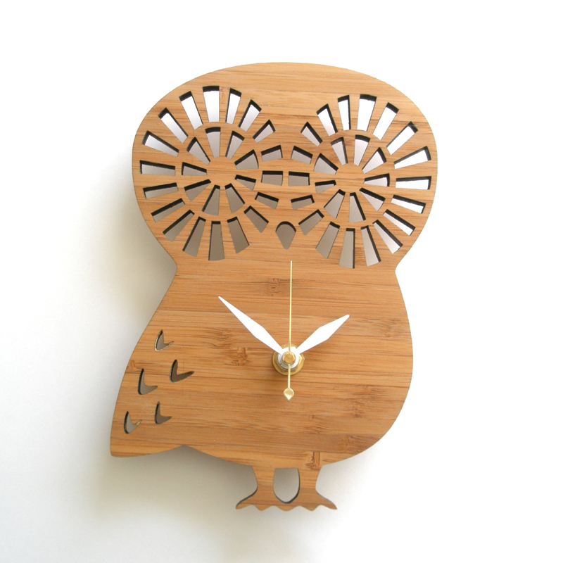 Wall Clock Owl Design : District modern owl wall clock clocks