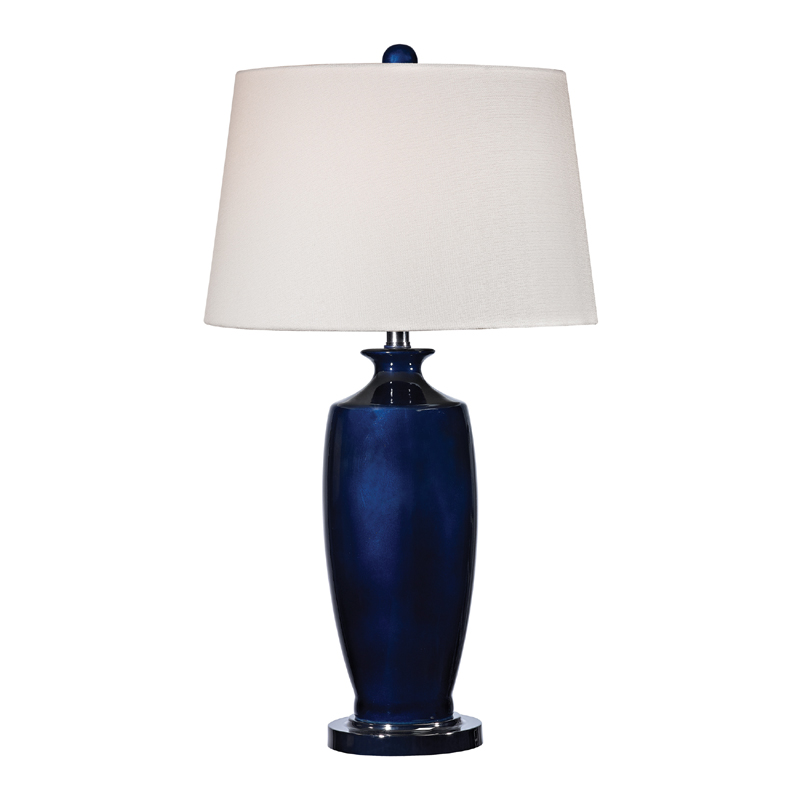 district17 navy blue ceramic table lamp with white shade