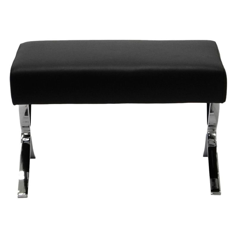 District17 Pietro Ottoman In Black Leather And Chrome