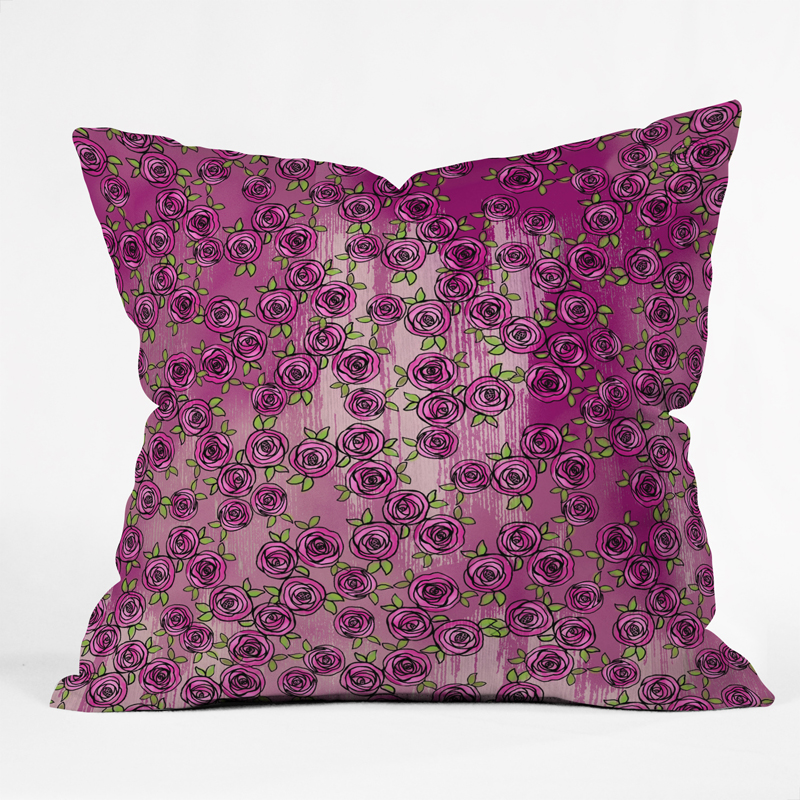District17: Purple Roses Throw Pillow: Pillows