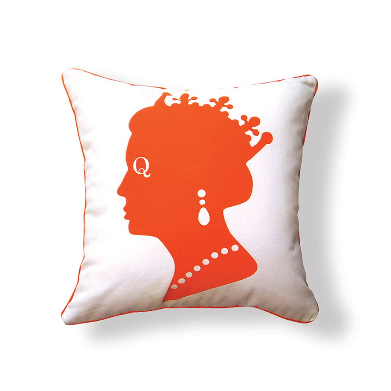 District17: Queen Reversible Throw Pillow in Orange and Brown: Pillows