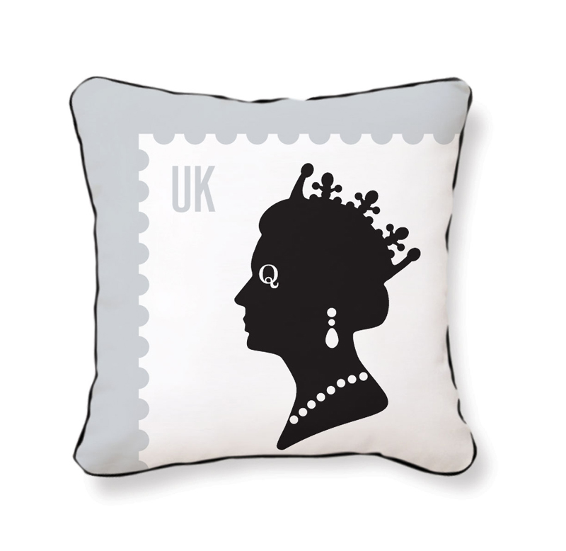 Queen Throw Pillow : District17: Queen Stamp Reversible Throw Pillow: Pillows