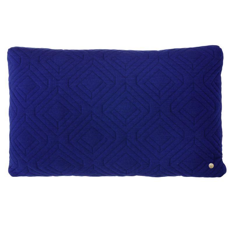 Blue Rectangular Throw Pillows : District17: Rectangle Quilt Cushion Throw Pillow in Dark Blue: Pillows