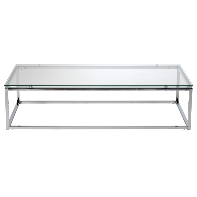 District17 sandor coffee table in clear glass and chrome tables Clear coffee table