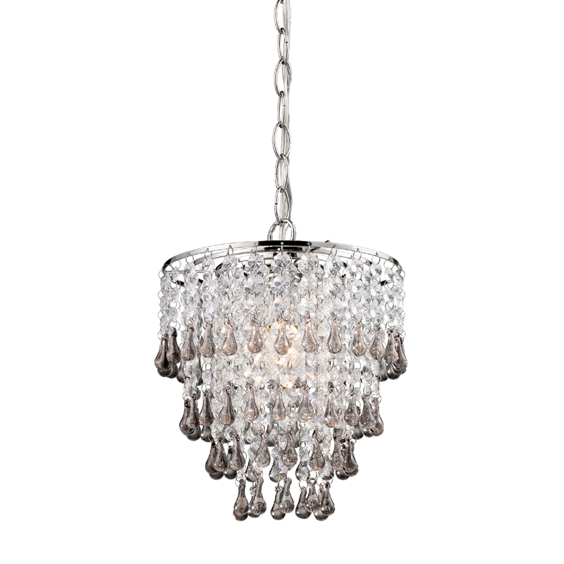 District17 smokey and clear crystal mini chandelier chandeliers - Small bathroom chandelier crystal ...