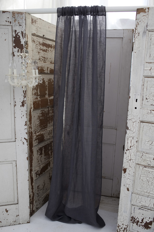 District17 Solid Slate Grey Linen Window Curtain Window Curtains