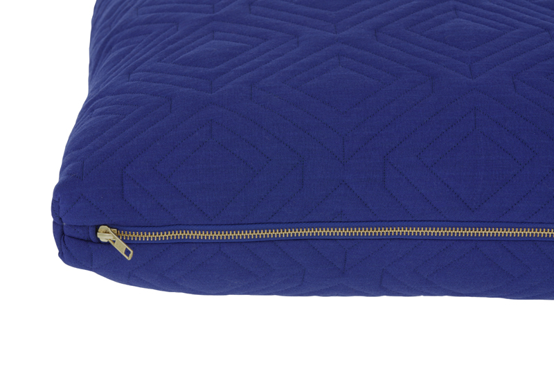 Dark Blue Throw Pillow : District17: Square Quilt Cushion Throw Pillow in Dark Blue: Pillows