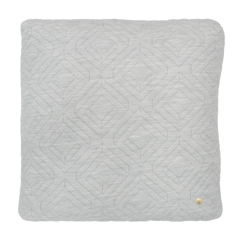 District17: Square Quilt Cushion Throw Pillow in Light Grey: Pillows