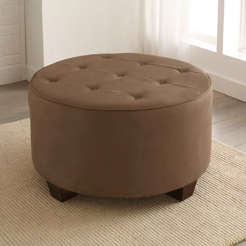 District17 Tufted Round Cocktail Upholstered Ottoman Ottomans