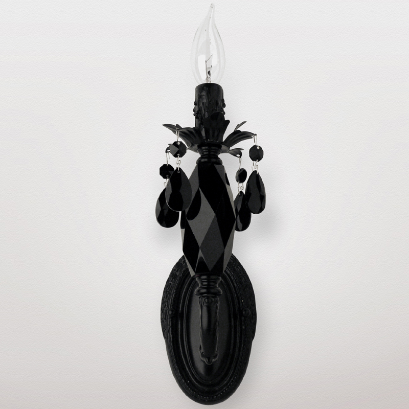 Black Crystal Wall Sconces : District17: Venus Neon Satin Black Crystal Wall Sconce: Wall Sconces