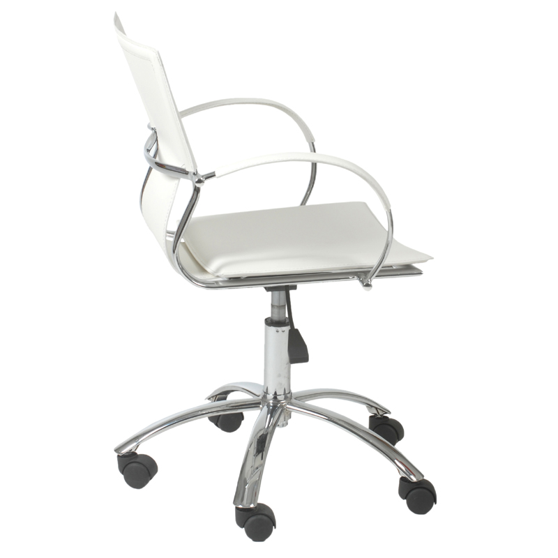 district17 vinnie office chair in white leather and