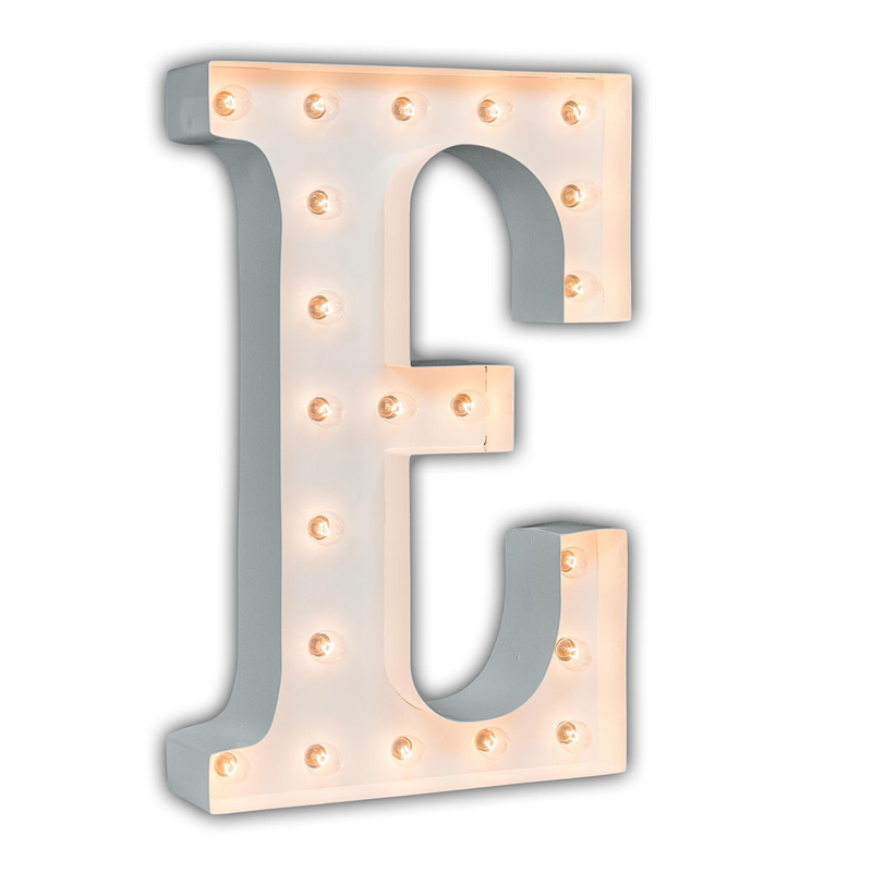 District17: White 24 Inch Letter E Marquee Light: Wall Letters,Wall Sconces