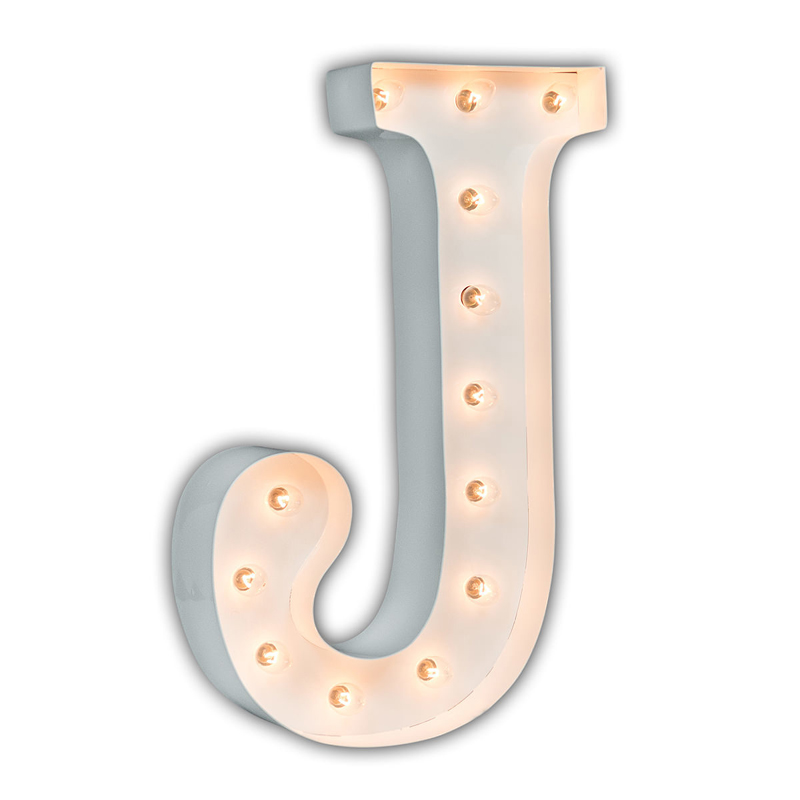 District17: White 24 Inch Letter J Marquee Light: Wall Letters,Wall Sconces