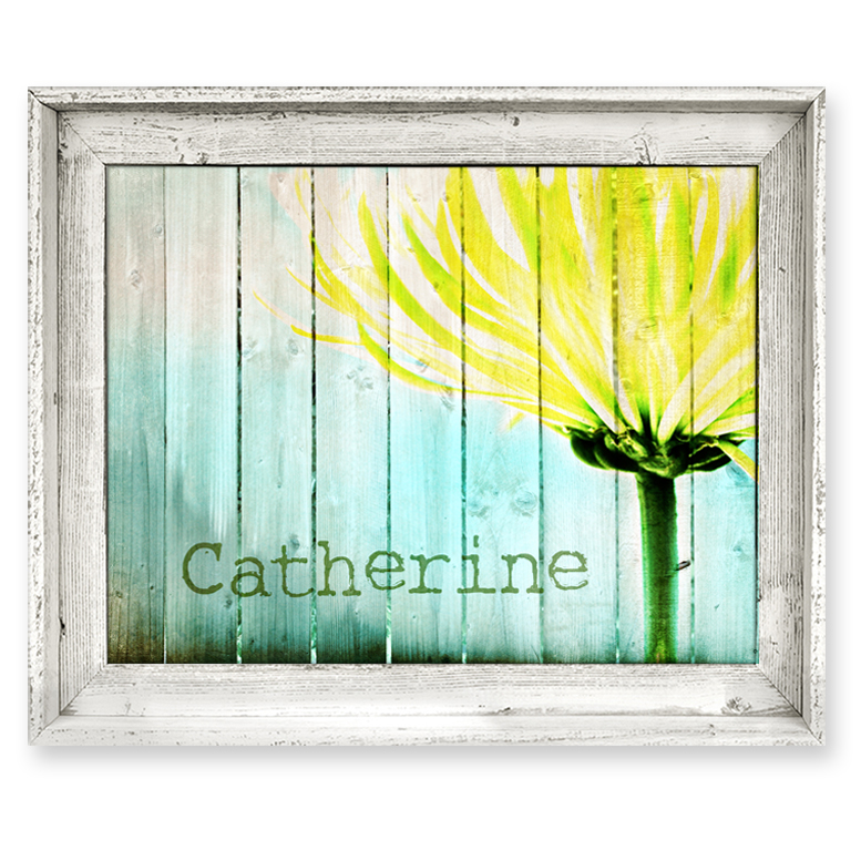 Wall Art Canvas Yellow : District yellow mum fence personalized framed canvas