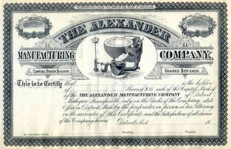 alexander manufacturing co stock 18 scripophily trader