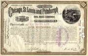 Chicago St Louis & Pittsburgh RR Stock 1883