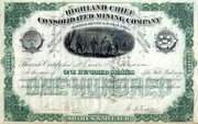 Highland Chief Consolidated Mining Stock 1879