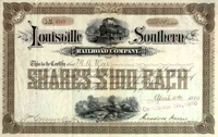 Louisville Southern RR Stock 1890