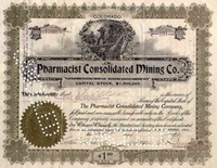 Pharmacist Consolidated Mining Stock signed by James Burns 1900