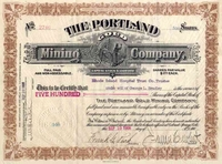 Portland Gold Mining Stock signed by Peck 1906