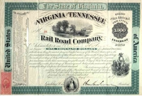Virginia & Tennessee RR Bond signed by W Mahone 1869