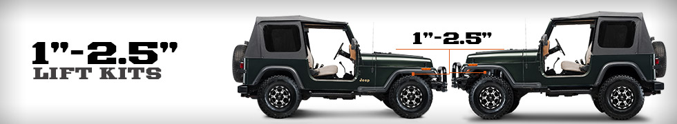 jeep yj lift kits 1 2 5 inch 1987 1995 wrangler free shipping. Black Bedroom Furniture Sets. Home Design Ideas