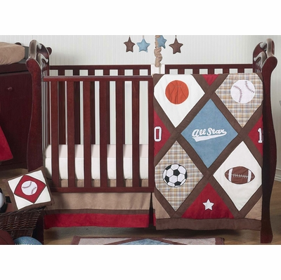 All Star Sports 11 Piece Bumperless Crib Bedding Collection