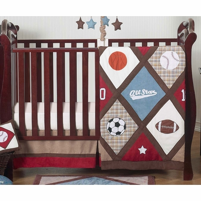 All Star Sports 4 Piece Bumperless Crib Bedding Collection
