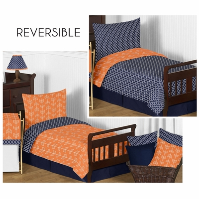 Arrow Orange and Navy Toddler Bedding Collection