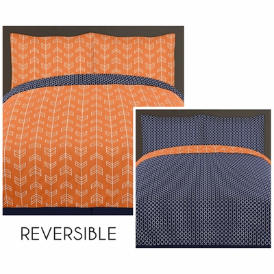 Arrow Orange and Navy Twin Bedding Collection