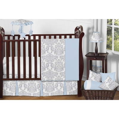 Avery Blue and Gray 11 Piece Bumperless Crib Bedding Collection