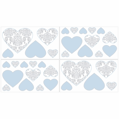 avery blue and gray collection wall decals set of 4 sheets