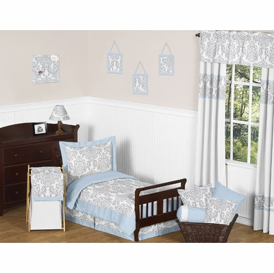 Avery Blue and Gray Toddler Bedding Collection