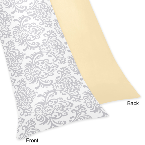 Avery Yellow And Gray Collection Full Length Body Pillow Cover