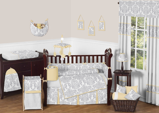 Avery Yellow And Gray Crib Bedding Collection Enlarge