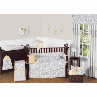 Avery Yellow and Gray Crib Bedding Collection