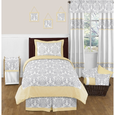 Avery Yellow and Gray Twin Bedding Collection