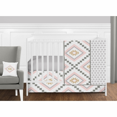 Aztec Pink and Grey 11 Piece Bumperless Crib Bedding Collection